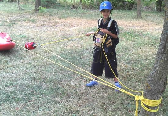 Kötéltechnika gyakorlás.