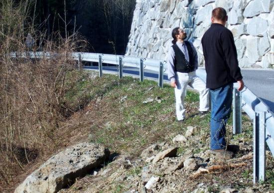 Az Ötös zúgó melletti kőomlás nyomai.