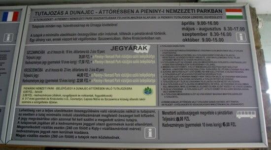 Információs tábla. Neked a 4 zlotyis belépőjegyjegy kell az evezéshez! Kattints a nagy mérethez!
