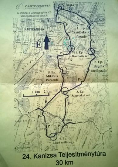 Kanizsa 30 túra térképe.